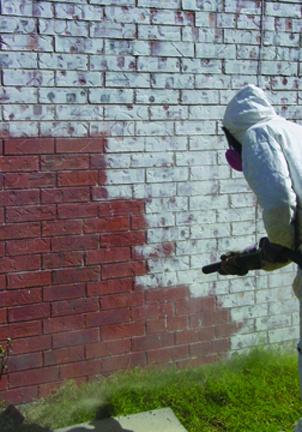 FastBlast being used to clean brick